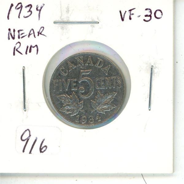 1934 Near Rim Nickel 5 Cents. S is Near Rim. VF-30.