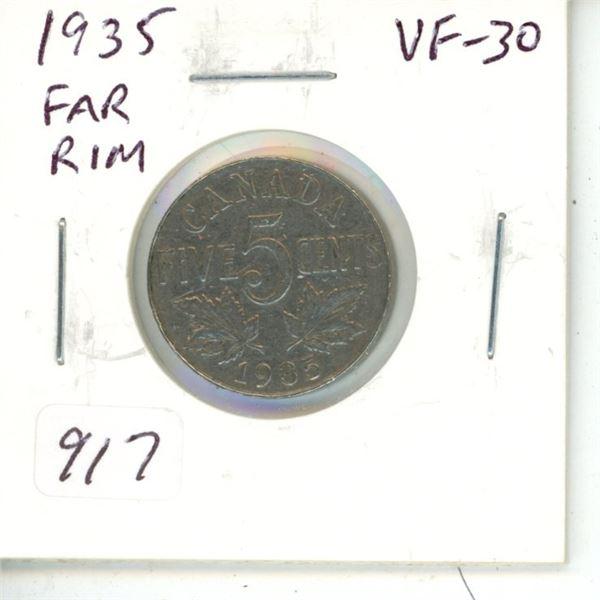 1935 Far Rim Nickel 5 Cents. S is Far from Rim. VF-30.