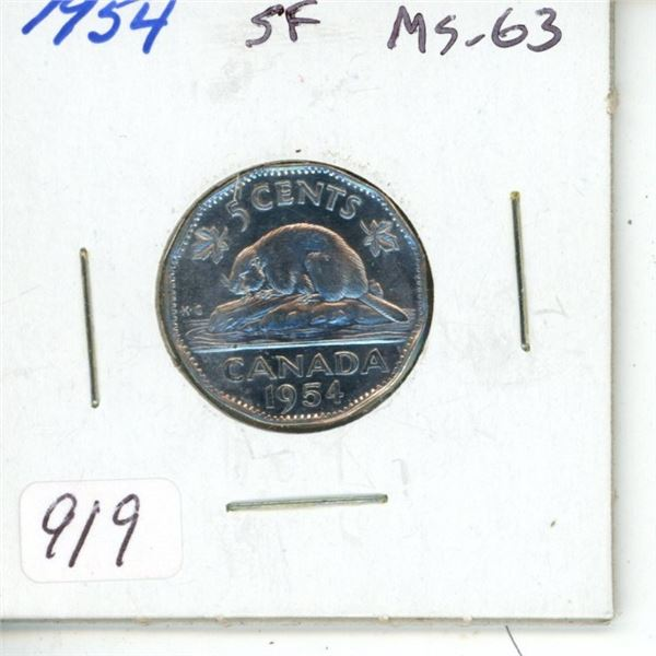 1954 Shoulder Fold Nickel 5 Cents. MS-63. Completely Lustrous.