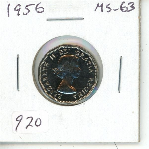 1956 Nickel 5 Cents. MS-63. Completely Lustrous.