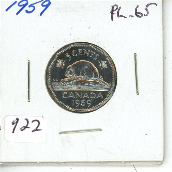 1959 Nickel 5 Cents. Proof Like-65. Completely Lustrous.