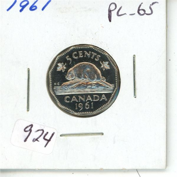 1961 Nickel 5 Cents. Proof Like-65. Completely Lustrous.