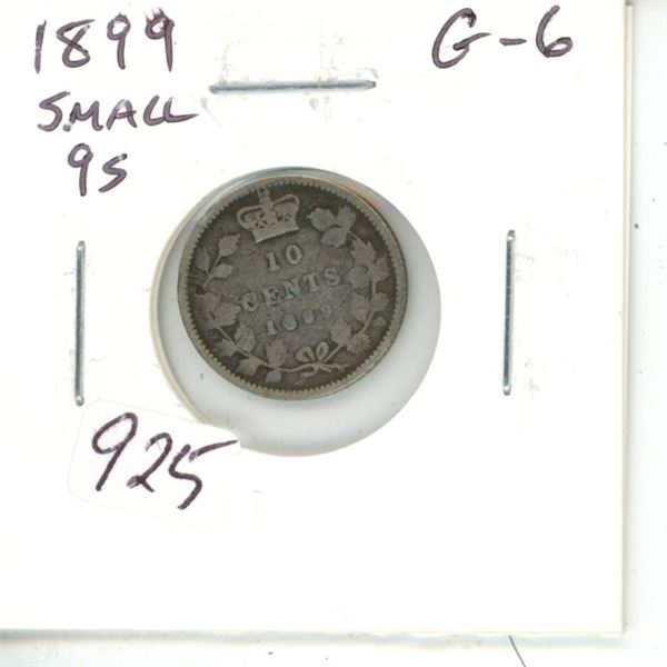 1899 Small 9s Victorian Silver 10 Cents. G-6.