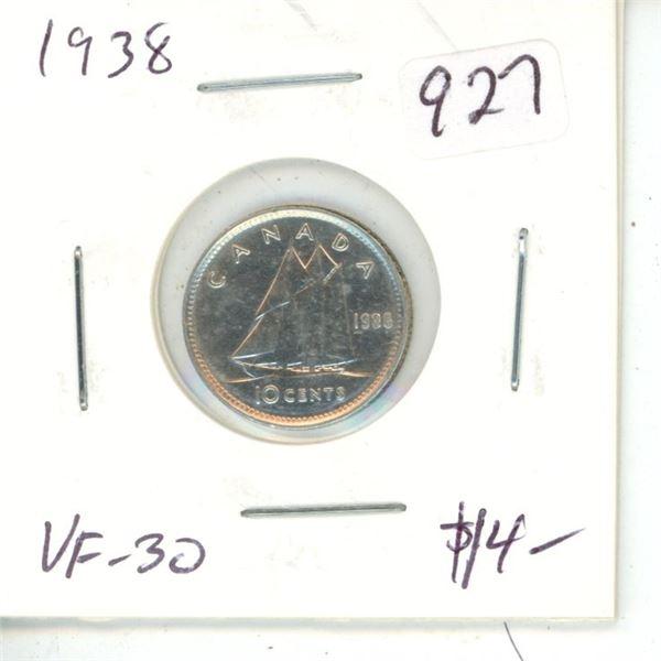 1938 George VI Silver 10 Cents. VF-30.