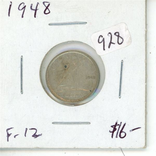 1948 George VI Silver 10 Cents. Key Date. Mintage of only 422, 741. F-12.