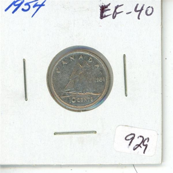 1954 Silver 10 Cents. EF-40.