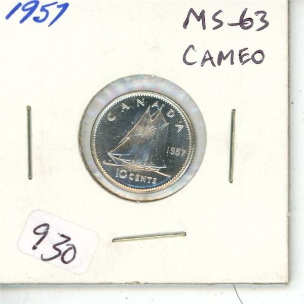 1957 Silver 10 cents. MS—63 Cameo.