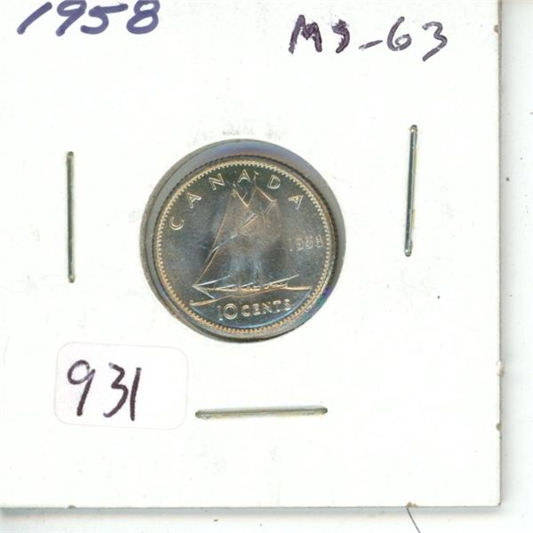 1958 Silver 10 Cents. MS-63.