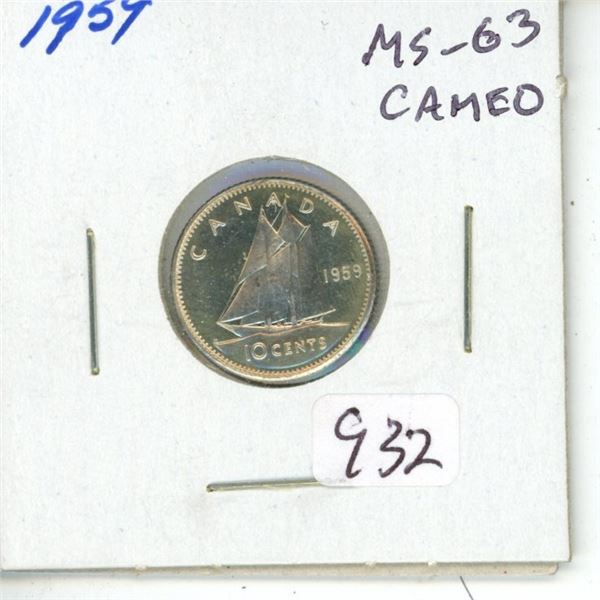 1959 Silver 10 Cents. MS-63 Cameo.