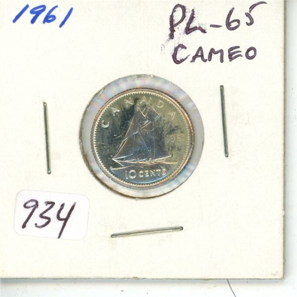 1961 Silver 10 Cents. Proof Like-65 Cameo.