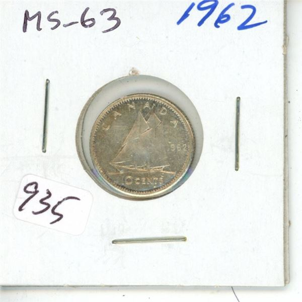 1962 Silver 10 Cents. MS-63.