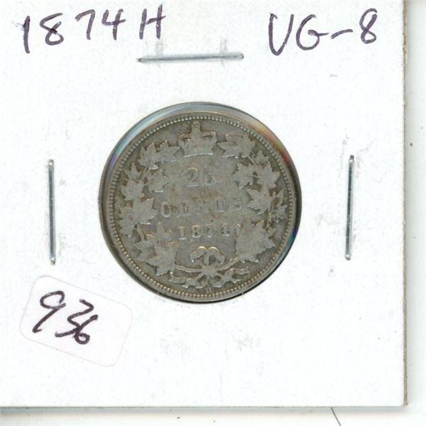 1874H Victorian Silver 25 Cents. Heaton Mint. VG-8.
