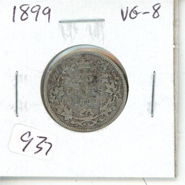 1899 Victorian Silver 25 Cents. VG-8.