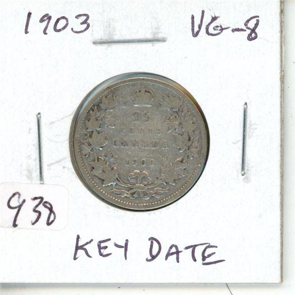 1903 Edward VII Silver 25 Cents. Key Date. Mintage of 846,150. VG-8.