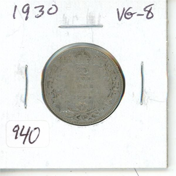 1930 George V Silver 25 Cents. VG-8.