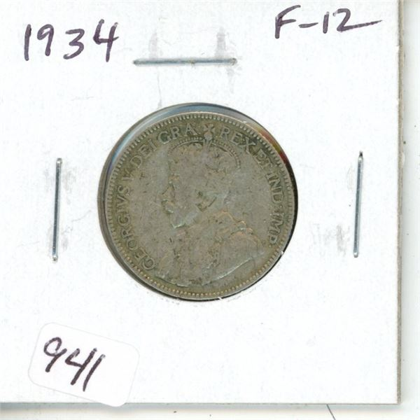 1934 George V Silver 25 Cents. F-12.