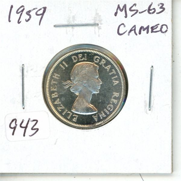 1959 Silver 25 Cents. MS-63 Cameo.
