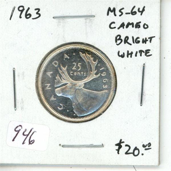 1963 Silver 25 Cents. MS-64 Cameo. Bright White.