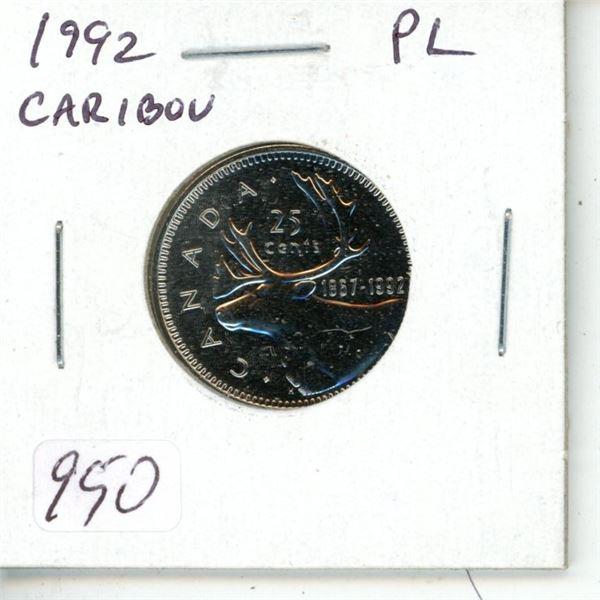 1992 Caribou 25 Cents. Proof Like-65. Scarce.