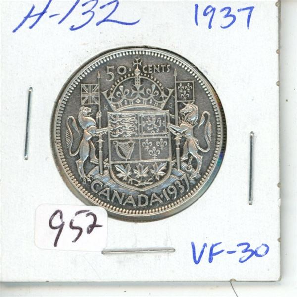 1937 George VI Silver 50 cents. First year of issue for King George VI. VF-30.