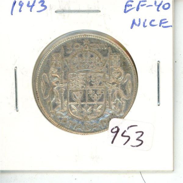 1943 George VI Silver 50 Cents.  World War II issue. EF-40.