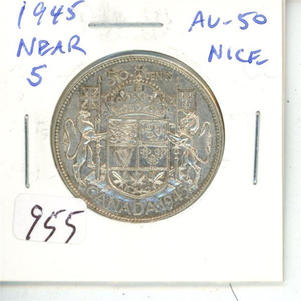 1945 Near 5 George VI Silver 50 Cents. World War II issue. AU-50.