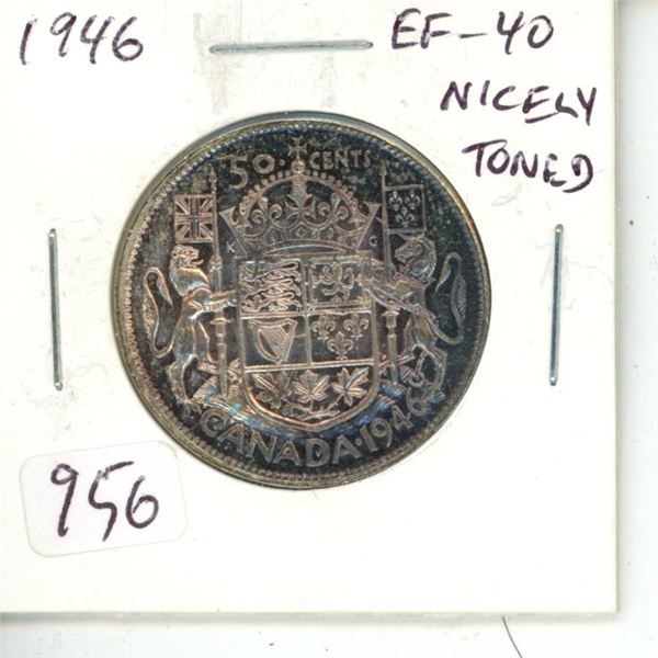 1946 George VI Silver 50 Cents. EF-40. Nicely Toned.