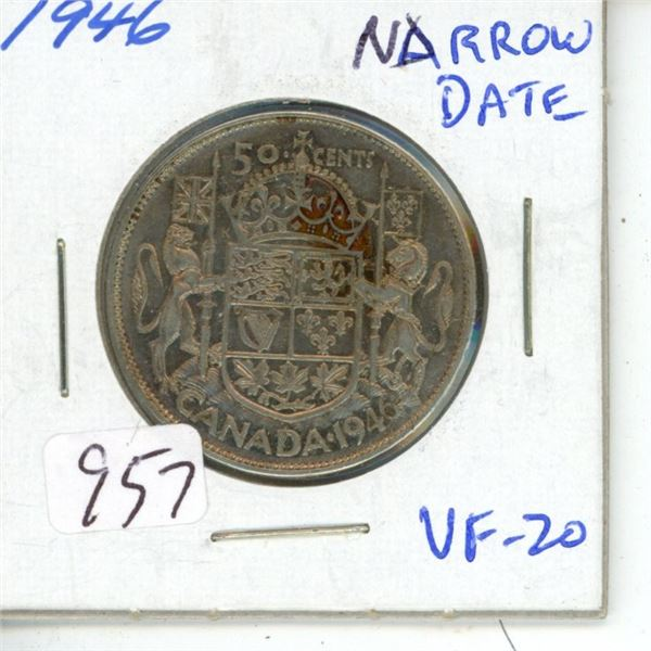 1946 Narrow Date George VI Silver 50 Cents. VF-20.
