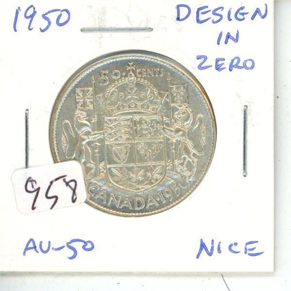 1950 Design in Zero George VI Silver 50 Cents. AU-50.