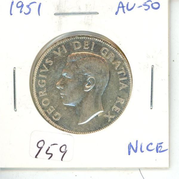 1951 George VI Silver 50 Cents. AU-50.
