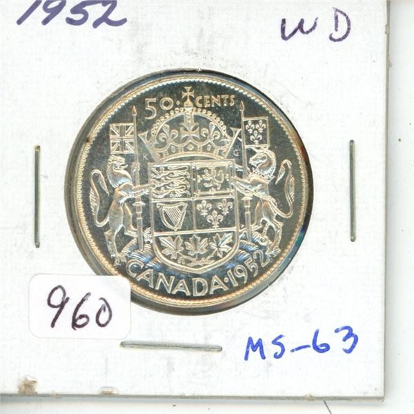 1952 Wide Date George VI Silver 50 Cents. The last issue of King George VI. MS-63. Fully Lustrous.