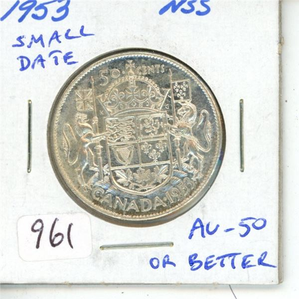 1953 Small Date No Shoulder Fold Silver 50 Cents. AU-50 or better.