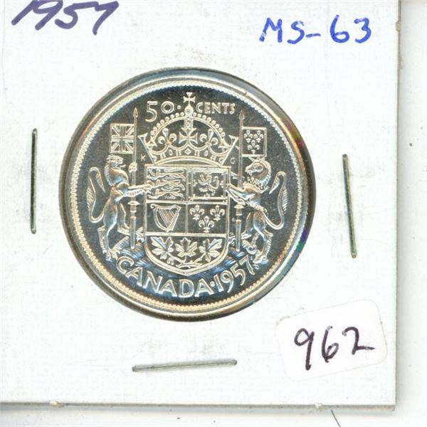 1957 Silver 50 Cents. MS-63. Fully Lustrous.