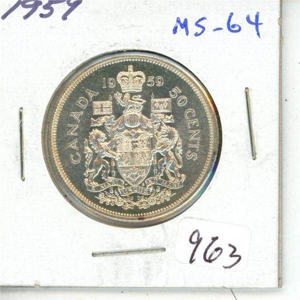 1959 Silver 50 Cents. MS-64. Fully Lustrous.