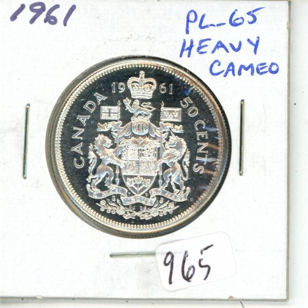 1961 Silver 50 Cents. Proof Like-65 Heavy Cameo. Fully Lustrous.