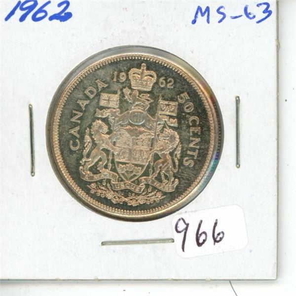 1962 Silver 50 Cents. MS-63. Fully Lustrous.