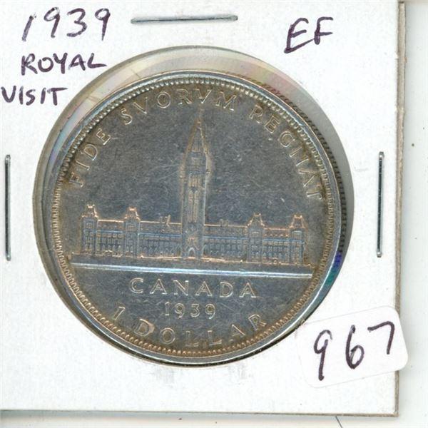 1939 Royal Visit Silver Dollar. Canada's second Commemorative Silver Dollar. EF-40.