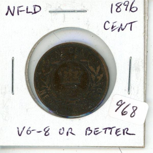 Newfoundland. 1896 Large Cent. Mintage of 200,000. VG-8 or better.