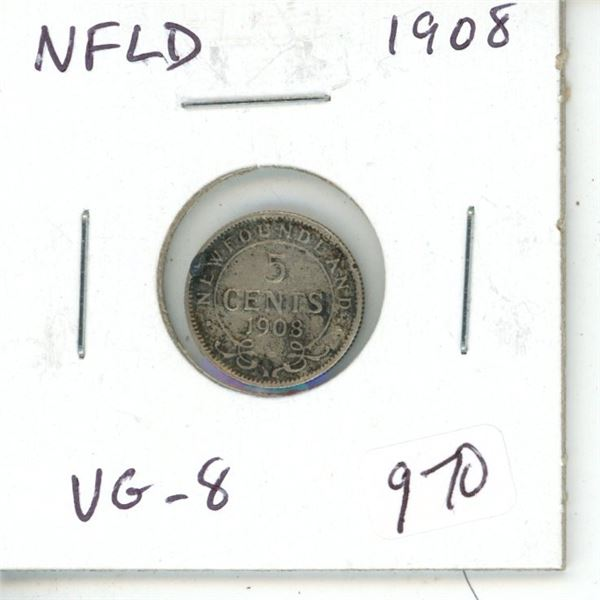 Newfoundland. 1908 Silver 5 Cents. Last year of issue for King Edward VII. Mintage of 400,000. VG-8.