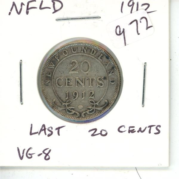 Newfoundland. 1912 Silver 20 Cents. The last and only Silver 20 Cents issued for King George V. Mint