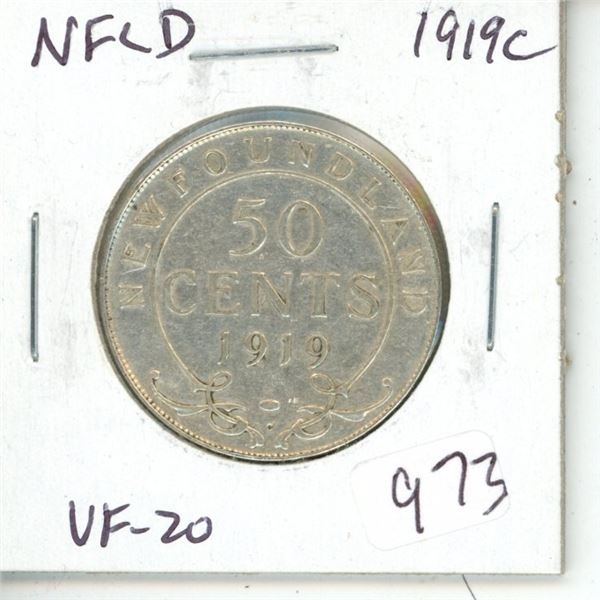Newfoundland. 1919c Silver 50 Cents. The last Silver 50 Cents issued for Newfoundland before joining