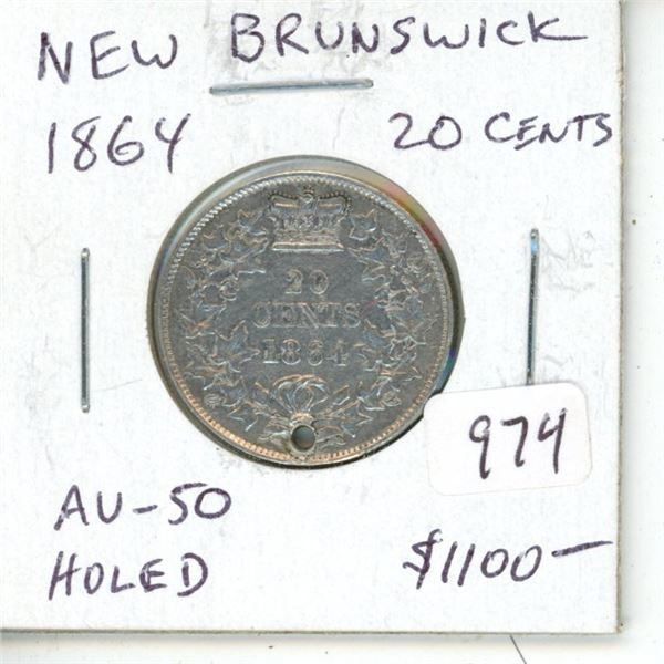 New Brunswick. 1864 Silver 20 Cents. Mintage of 150,000. The last Silver 20 Cents issued before Conf