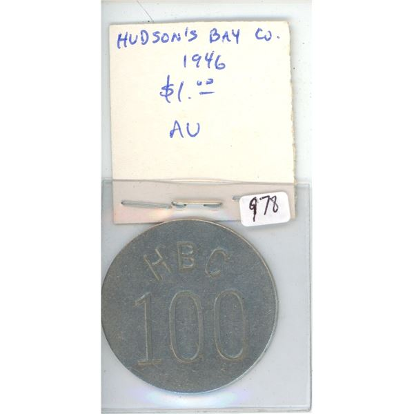 Hudson's Bay Company 1946 $1 Eastern Arctic aluminum Token. Issued just after World War II to teach
