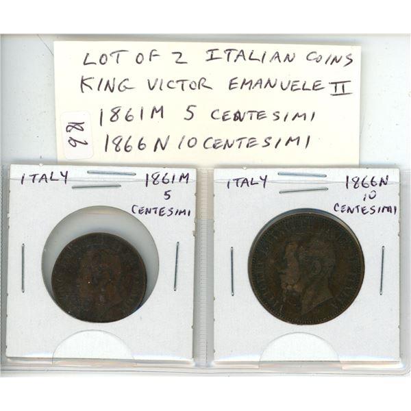 Lot of 2 Italian coins of King Victor Emanuele II. 1861M 5 Centesimi and 1866N Centesimi. Both VG.