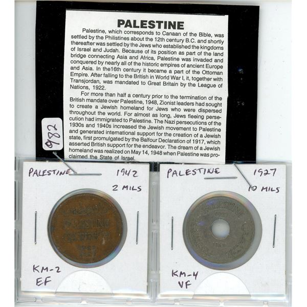 Lot of 2 coins from Palestine. 1942 2 Mils KM-2 EF and 1927 10 Mils KM-4 VF.