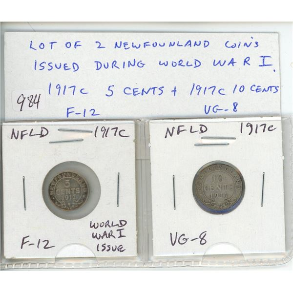 Lot of 2 Newfoundland coins issued during World War I. 1917c Silver 5 cents F-12 and 1917c Silver 10