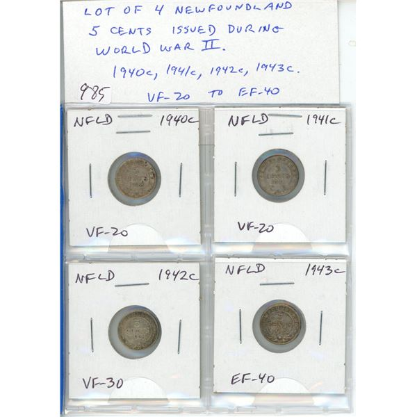 Lot of 4 Newfoundland Silver 5 Cents issued during World War II 1940c, 1941c, 1942c, 1943c. All mint
