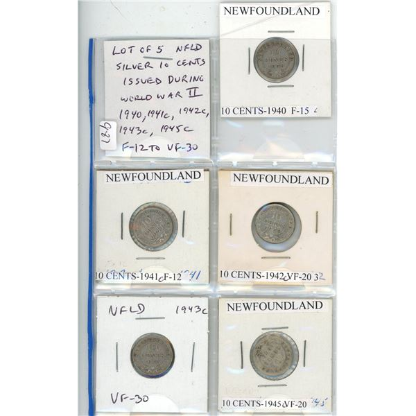 Lot of 5 Newfoundland Silver 10 Cents issued during World War II. 1940, 1941c, 1942c, 1943c, 1945c.