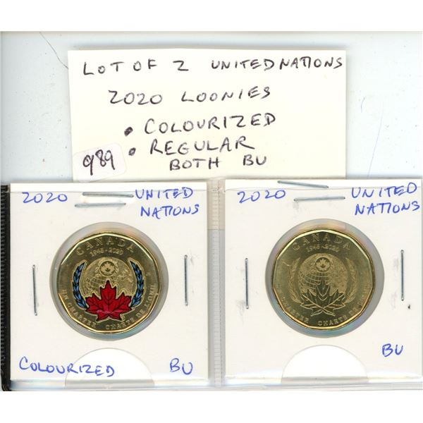 Lot of 2 United Nations 2020 Loonies. Colourized and Regular. Both BU from an original roll.