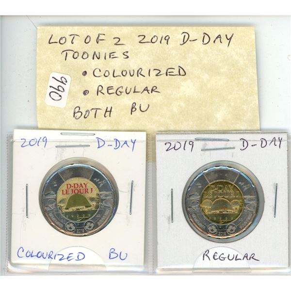 Lot of 2 D-Day 2019 Toonies. Colourized and Regular. Both BU from an original roll.